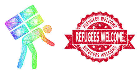 Rainbow vibrant net refugee, and Refugees Welcome unclean ribbon stamp seal. Red stamp includes Refugees Welcome caption inside ribbon.Geometric linear frame flat network based on refugee icon,