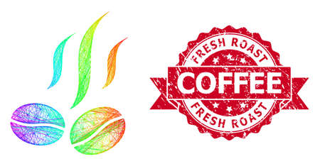 Bright colored wire frame coffee beans smell, and Fresh Roast Coffee grunge ribbon seal. Red stamp seal contains Fresh Roast Coffee caption inside ribbon.