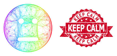 Spectrum vibrant network neutral smiley, and Keep Calm corroded ribbon stamp seal. Red stamp seal has Keep Calm tag inside ribbon.Geometric linear carcass 2D network based on neutral smiley icon,