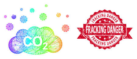 Rainbow colored net CO2 gas emission, and Fracking Danger corroded ribbon stamp seal. Red stamp seal contains Fracking Danger tag inside ribbon.