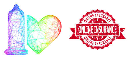 Rainbow colorful network safe love, and Online Insurance grunge ribbon stamp seal. Red stamp includes Online Insurance caption inside ribbon.Geometric hatched frame flat net based on safe love icon,