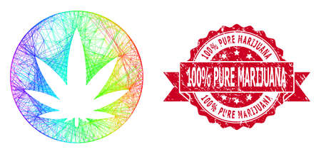 Rainbow colorful wire frame medical cannabis, and 100% Pure Marijuana rubber ribbon stamp seal. Red stamp has 100% Pure Marijuana text inside ribbon. Ilustracja