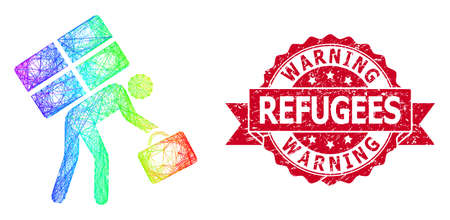 Spectrum colored net refugee person, and Warning Refugees rubber ribbon seal imitation. Red stamp seal has Warning Refugees tag inside ribbon. Ilustrace
