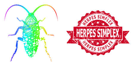 Bright colored net damaged cockroach, and Herpes Simplex scratched ribbon stamp seal. Red stamp seal has Herpes Simplex caption inside ribbon.  イラスト・ベクター素材