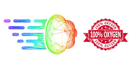 Spectrum colored net gas cloud, and 100% Oxygen scratched ribbon seal. Red stamp seal includes 100% Oxygen text inside ribbon.Geometric hatched carcass flat net based on gas cloud icon,