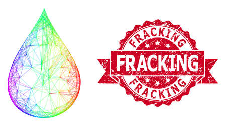 Bright colorful net oil drop, and Fracking dirty ribbon seal imitation. Red seal includes Fracking text inside ribbon.Geometric wire frame flat net based on oil drop icon, Vektorgrafik