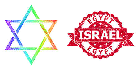 Rainbow vibrant net david star, and Egypt Israel unclean ribbon stamp seal. Red stamp seal includes Egypt Israel caption inside ribbon.Geometric hatched carcass flat net based on david star icon,