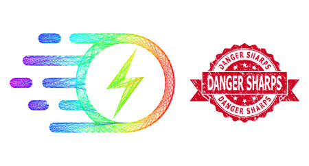 Spectrum vibrant network electric spark, and Danger Sharps rubber ribbon seal imitation. Red seal has Danger Sharps caption inside ribbon.