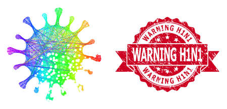 Rainbow vibrant net damaged microbe, and Warning H1N1 scratched ribbon seal. Red seal includes Warning H1N1 caption inside ribbon.Geometric wire frame flat net based on damaged microbe icon,