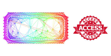 Bright colored net ticket template, and Access scratched ribbon seal. Red stamp seal contains Access caption inside ribbon.Geometric linear frame flat net based on ticket template icon, 向量圖像