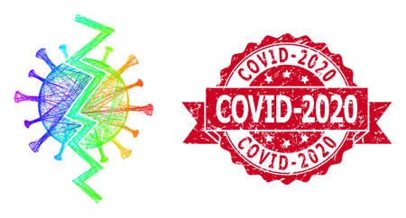 Rainbow colorful net virus break, and Covid-2020 rubber ribbon stamp seal. Red stamp contains Covid-2020 caption inside ribbon.Geometric linear carcass flat net based on virus break icon,