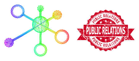Spectrum colorful wire frame relations, and Public Relations grunge ribbon seal print. Red stamp seal contains Public Relations title inside ribbon.