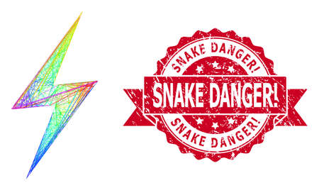 Bright vibrant network electric strike, and Snake Danger! rubber ribbon seal. Red stamp seal has Snake Danger! text inside ribbon.Geometric wire carcass flat network based on electric strike icon,