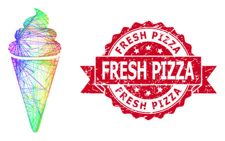 Spectrum colored net ice cream, and Fresh Pizza dirty ribbon seal print. Red seal contains Fresh Pizza text inside ribbon.Geometric hatched carcass flat network based on ice cream icon,