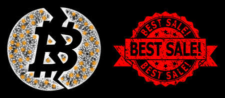 Shiny mesh web broken bitcoin with glowing spots, and Best Sale! rubber ribbon seal. Red seal has Best Sale! title inside ribbon. Ilustração