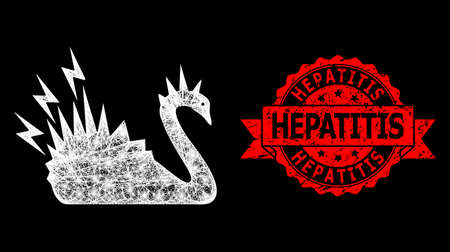 Shiny mesh polygonal black danger swan with light spots, and Hepatitis scratched ribbon seal. Red stamp seal includes Hepatitis text inside ribbon. Ilustrace