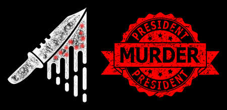 Glare mesh net blood knife with lightspots, and President Murder unclean ribbon stamp seal. Red stamp has President Murder tag inside ribbon. Ilustrace