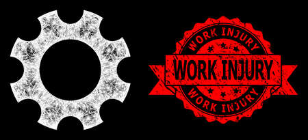 Glare mesh polygonal cogwheel with lightspots, and Work Injury scratched ribbon stamp. Red stamp seal includes Work Injury tag inside ribbon.