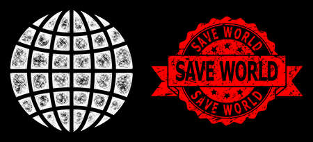 Glare mesh network globe with lightspots, and Save World dirty ribbon seal print. Red stamp seal has Save World tag inside ribbon. Illuminated vector model created from globe icon with white mesh.