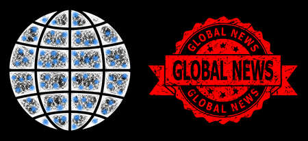 Glowing mesh web globe with glowing spots, and Global News corroded ribbon stamp seal. Red seal includes Global News caption inside ribbon.