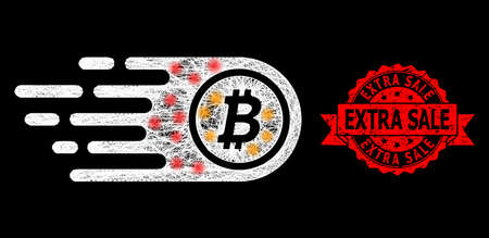 Glowing mesh network bitcoin with glowing spots, and Extra Sale rubber ribbon stamp. Red seal has Extra Sale text inside ribbon. Illuminated vector model created from bitcoin icon with white mesh.
