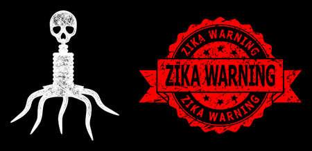 Shiny mesh network death virus with lightspots, and Zika Warning dirty ribbon seal. Red seal has Zika Warning title inside ribbon.