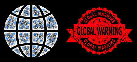 Glowing mesh polygonal globe with glowing spots, and Global Warming unclean ribbon seal. Red stamp seal has Global Warming caption inside ribbon. 일러스트