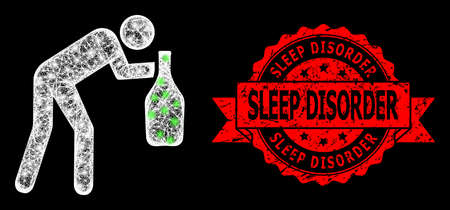 Glowing mesh net drunky man with glowing spots, and Sleep Disorder scratched ribbon stamp seal. Red stamp seal includes Sleep Disorder title inside ribbon.