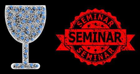 Bright mesh polygonal wine cup with light spots, and Seminar grunge ribbon seal print. Red seal has Seminar caption inside ribbon. 向量圖像
