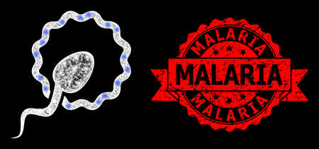 Bright mesh net cell insemination with glowing spots, and Malaria grunge ribbon stamp seal. Red stamp seal includes Malaria tag inside ribbon.  イラスト・ベクター素材
