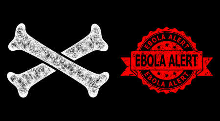 Shiny mesh net crossing bones with glowing spots, and Ebola Alert textured ribbon stamp seal. Red stamp seal contains Ebola Alert text inside ribbon.