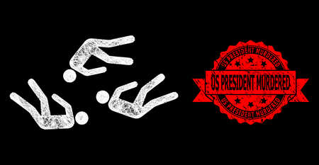 Shiny mesh polygonal dead people with light spots, and Us President Murdered rubber ribbon watermark. Red stamp seal has Us President Murdered title inside ribbon. Ilustrace
