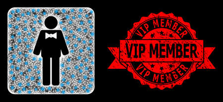 Glare mesh polygonal groom with lightspots, and Vip Member grunge ribbon seal print. Red stamp seal includes Vip Member caption inside ribbon.