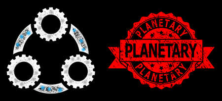 Glowing mesh polygonal gear planetary transmission with glowing spots, and Planetary grunge ribbon stamp seal. Red stamp seal has Planetary text inside ribbon.