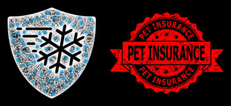 Shiny mesh polygonal frost protection with lightspots, and Pet Insurance rubber ribbon stamp seal. Red stamp has Pet Insurance caption inside ribbon. Ilustrace