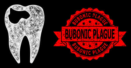 Glowing mesh network tooth caries with light spots, and Bubonic Plague rubber ribbon watermark. Red stamp seal contains Bubonic Plague title inside ribbon. 向量圖像