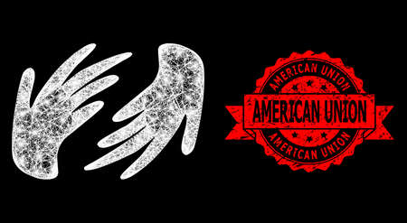 Glowing mesh polygonal hands with glowing spots, and American Union dirty ribbon stamp seal. Red stamp has American Union caption inside ribbon.