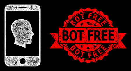 Glare mesh network cellphone profile with glowing spots, and Bot Free dirty ribbon seal print. Red seal includes Bot Free text inside ribbon.