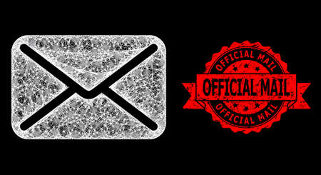 Bright mesh polygonal letter with glowing spots, and Official Mail textured ribbon seal. Red stamp seal includes Official Mail text inside ribbon.