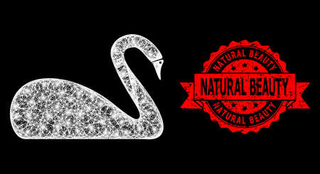 Shiny mesh polygonal swan with glowing spots, and Natural Beauty unclean ribbon seal print. Red stamp seal includes Natural Beauty title inside ribbon. Illusztráció