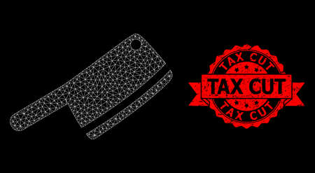 Mesh net butchery knife on a black background, and Tax Cut scratched ribbon seal imitation. Red stamp seal has Tax Cut text inside ribbon. Vector model created from butchery knife icon with mesh. Vector Illustratie