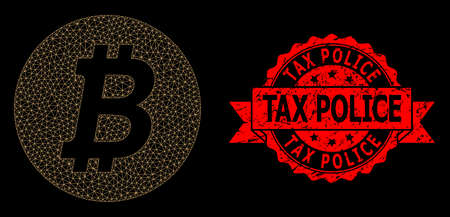 Mesh network bitcoin coin on a black background, and Tax Police corroded ribbon stamp. Red stamp seal includes Tax Police tag inside ribbon. Vector model created from bitcoin coin icon with mesh.