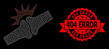 Mesh net bone joint fracture on a black background, and 404 Error unclean ribbon stamp. Red stamp has 404 Error caption inside ribbon.