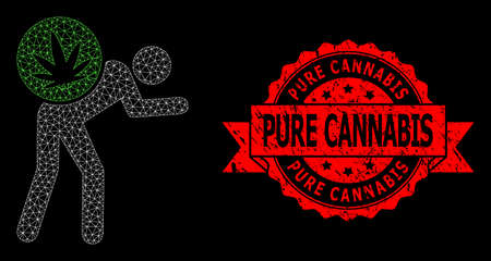Mesh polygonal cannabis courier on a black background, and Pure Cannabis scratched ribbon stamp seal. Red stamp seal has Pure Cannabis text inside ribbon.