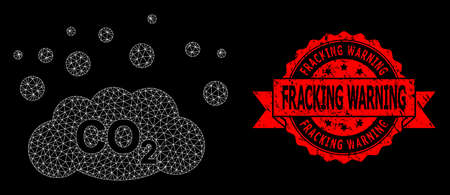 Mesh polygonal CO2 gas emission on a black background, and Fracking Warning textured ribbon stamp seal. Red stamp seal includes Fracking Warning caption inside ribbon.
