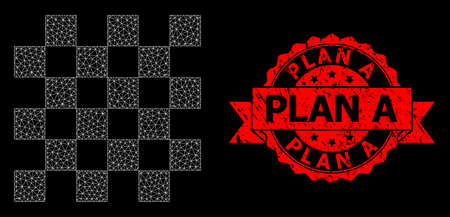 Mesh net chess board on a black background, and Plan A corroded ribbon stamp seal. Red stamp seal has Plan A tag inside ribbon. Vector model created from chess board icon with mesh.