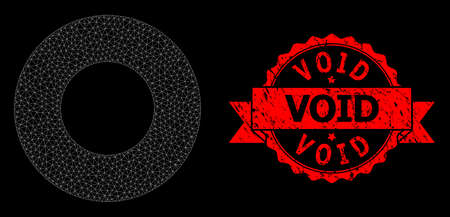 Mesh polygonal donut on a black background, and Void scratched ribbon stamp seal. Red stamp seal has Void title inside ribbon. Vector constellation created from donut icon with triangular net.