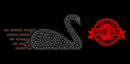Mesh net swan on a black background, and Good Size unclean ribbon stamp seal. Red stamp seal includes Good Size title inside ribbon. Vector constellation created from swan icon with triangular net.