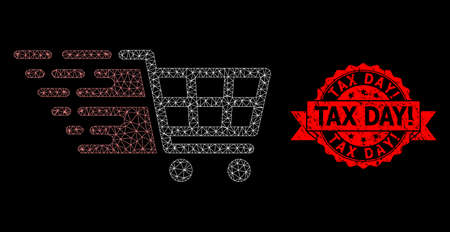Mesh polygonal supermarket cart on a black background, and Tax Day! rubber ribbon seal. Red stamp seal has Tax Day! tag inside ribbon. Vector model created from supermarket cart icon with mesh. Vektoros illusztráció