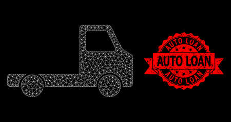 Mesh polygonal delivery car chassi on a black background, and Auto Loan grunge ribbon stamp seal. Red stamp seal contains Auto Loan tag inside ribbon.